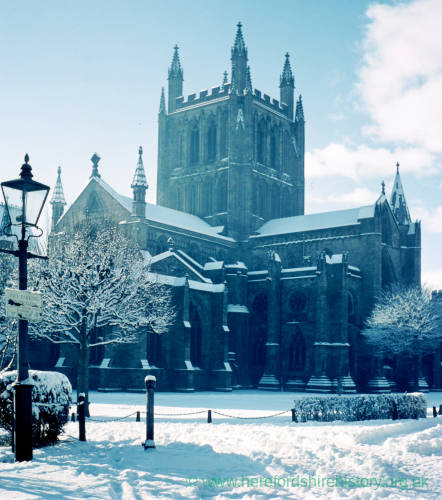 Hereford cathederal in snow