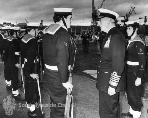 Admiral of the Fleet, Earl Mountbatten of Burma inspects Sea Cadets, Hebburn .
