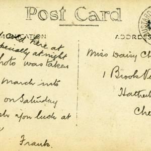 E Company 5th Gloucestershire Regiment - rear of postcard