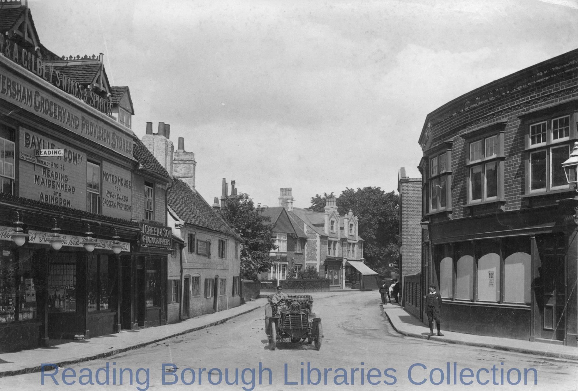 Church Street, Caversham, looking eastwards from the corner of Church Road and Bridge Street (Berry's Corner), 1908
