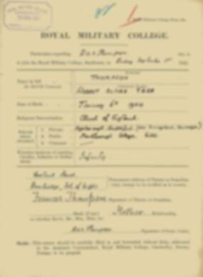 RMC Form 18A Personal Detail Sheets Feb & Sept 1922 Intake - page 298