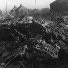 Bomb damage to gardens in King George Road