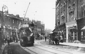 Broadway, Wimbledon: Showing Tram and horse and cart.