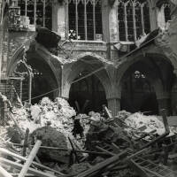 Bomb damage to the south quire aisle, 1942,  Exeter Cathedral