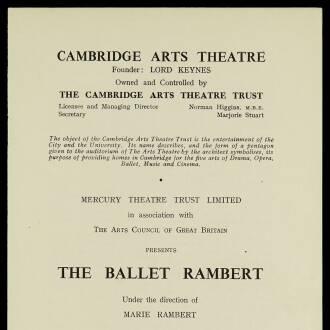 Cambridge Arts Theatre, October–November 1952