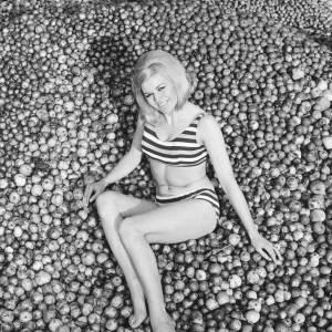 Woman posing on cider apples