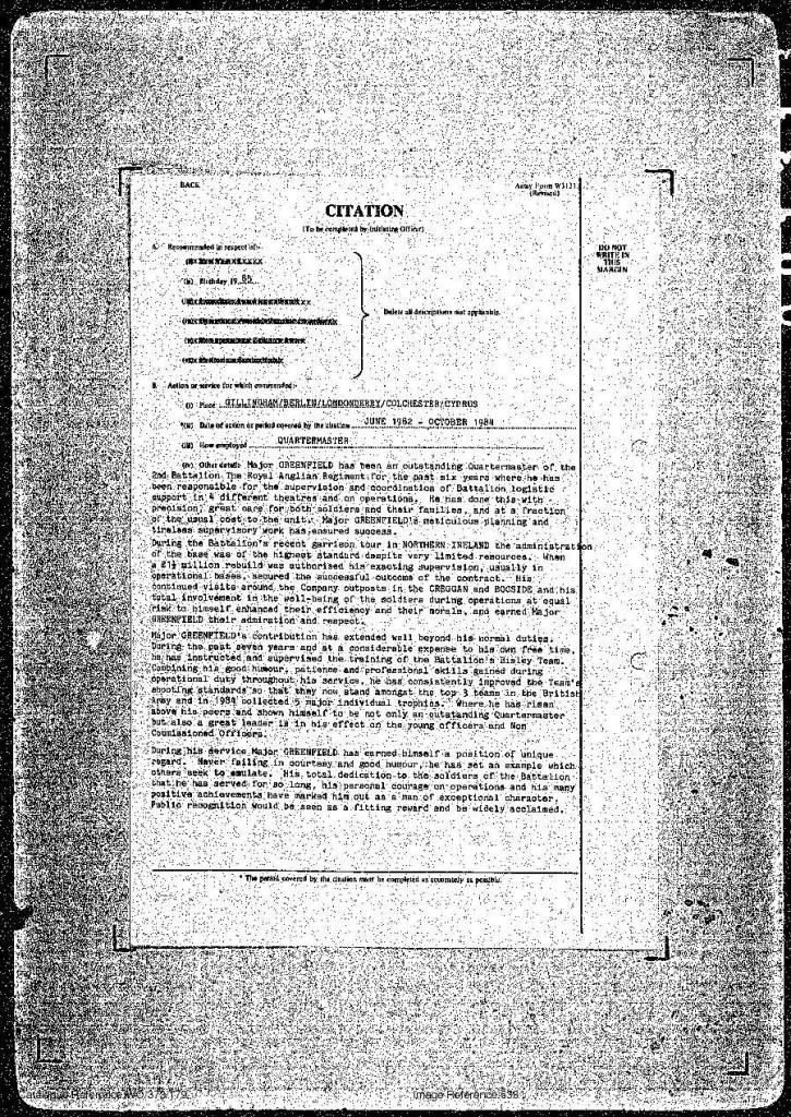 302 Greenfield MBE citation 15 Jun 85-2.jpg