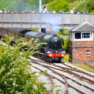 AM03 Flying Scotsman from A44 A49 bridge, Leominster, 19th May 2017.jpg