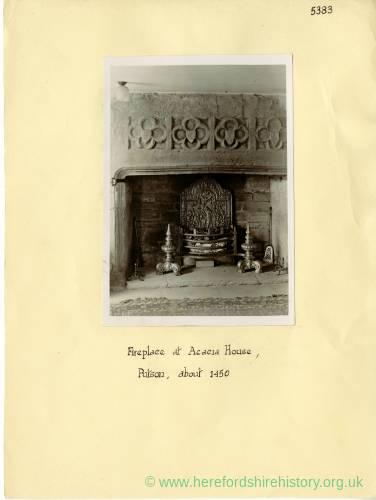 Acacia House, Putson, Hereford, fireplace, 1938