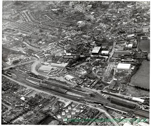 Hereford looking SW, aerial view, 1967