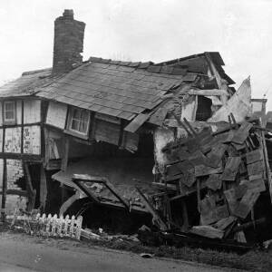 A cottage after a lorry had crashed into it.