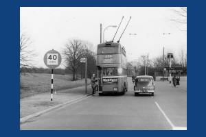 Trolleybus at the Ravensbury Arms stopping place.