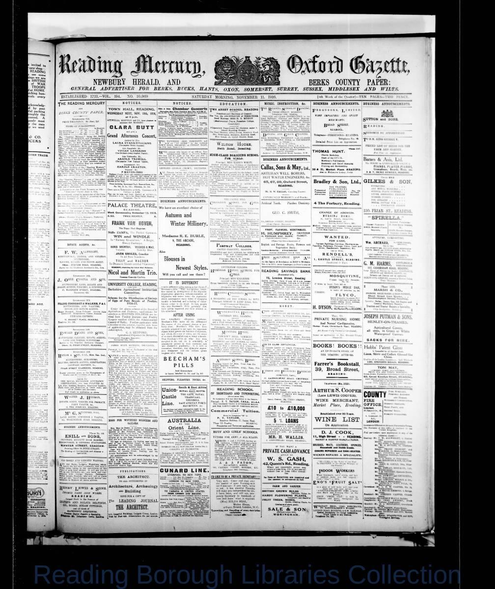 Reading Mercury Oxford Gazette Saturday, November 11, 1916. Pg 1