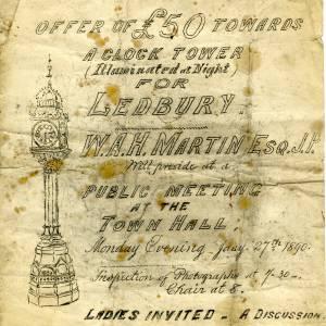 Ledbury clock tower public meeting, 27th July 1890