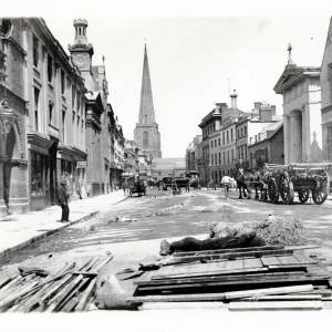 Cleaning up remains of the May Fair, Broad Street, Hereford,  c.1895