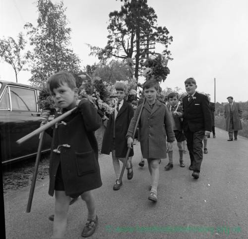 Boys taking part in the Fownhope annual Heart of Oak Club Walk, May 1965