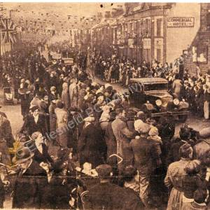 Crowds Cheering Royal Party on Station Road Chapeltown, c 1937