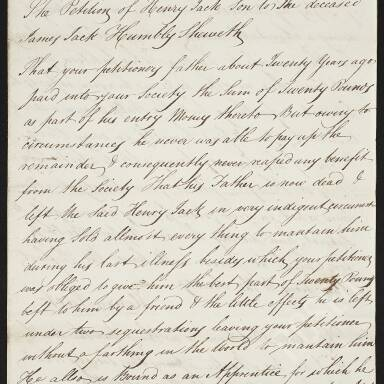 Henry Jack requesting assistance during his apprenticeship, since his father's illness and death have left him indigent (Part 2)