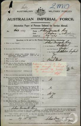 Service Papers - Arthur Duncombe King