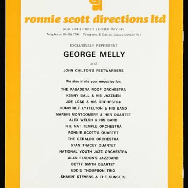 George Melly & John Chilton's Feetwarmers, Belgrade Theatre, Coventry - March 27th 1977 005
