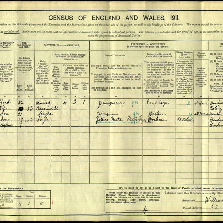1911 Census for 62 Balham Hill, London