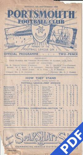 19480906 Official Programme Bournemouth Home FC