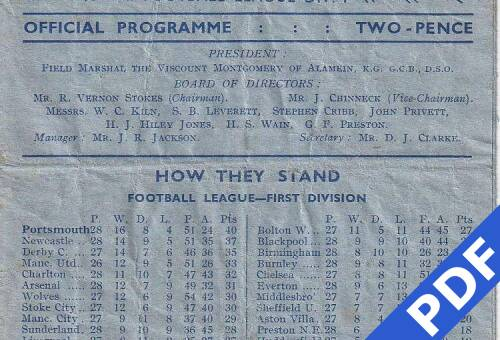 19490219 Official Programme Charlton Athletic Home FCC