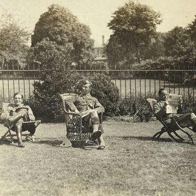 """Apollo"", ""Robbo"" and Captain Johnstone Relaxing in Hospital Gardens"