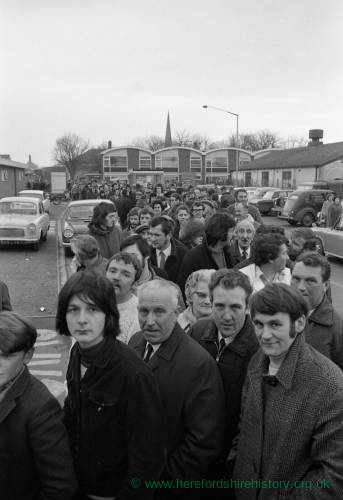 Crowds at Edgar Street Hereford queuing for Newcastle FA Cup tickets Jan 1972.