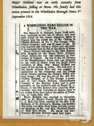 Newspaper Extract - Charles Stewart Holland