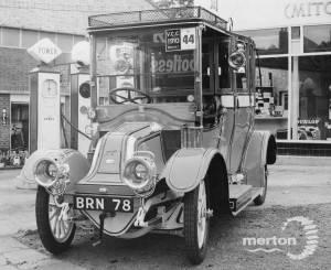 Vintage car outside Allen Bros.Garage, Mitcham