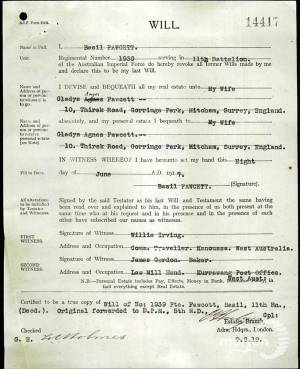Extract from the Service Papers of Private Basil Guy Fawcett