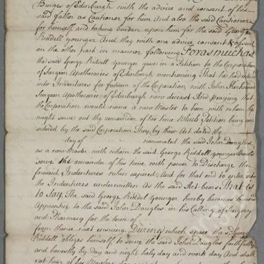 Indenture between John Douglas, surgeon apothecary in Edinburgh and George Riddell, son to George Riddell, wright burger of Edinburgh