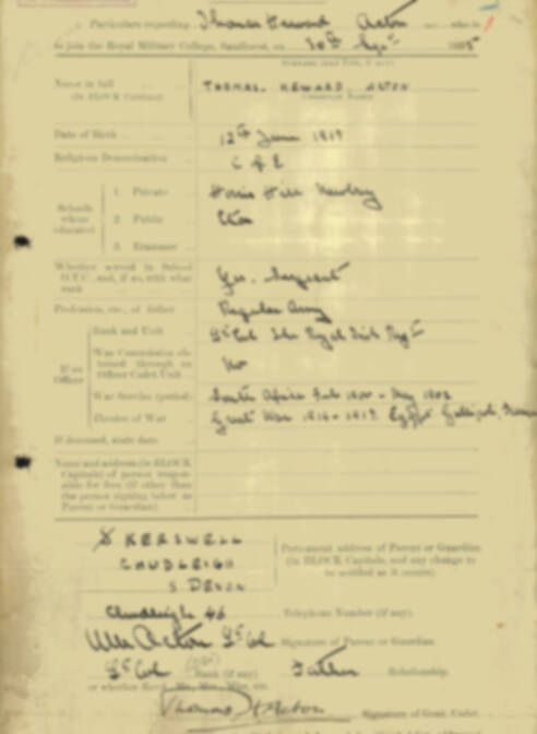 RMC Form 18A Personal Detail Sheets Aug 1935 Intake - page 1