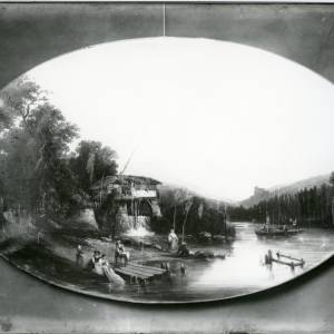 G36-015-03 Unframed oval painting of waterside scene; landing stage, watermill, fishing, boating, and women washing clothes.jpg
