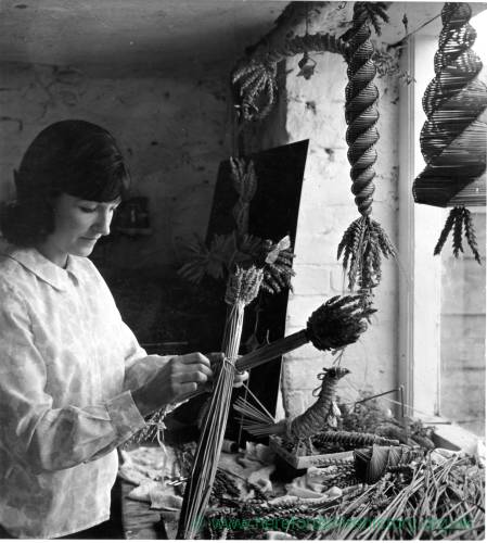 Winifred Newton Sealy making corn dollies