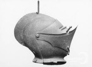 St. Mary's, Merton: Armorial helmet displayed in the church