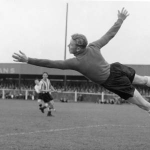 A diving goalkeeper at Edgar Street, 1950s.