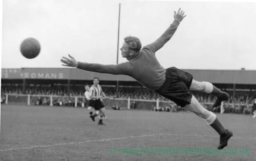 A diving goalkeeper at Edgar Street, 1950s.