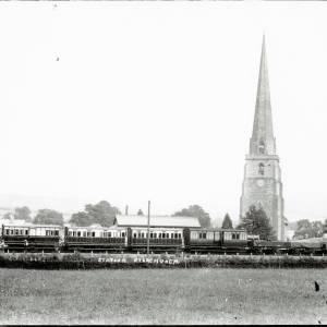 Steam train standing in the railway station, Peterchurch, c.1900
