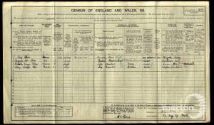 1911 Census - 34 Gore Road, Raynes Park