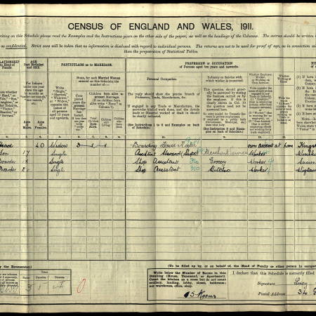 1911 Census - 34 Gore Road, Raynes Park