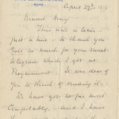 Elsie Inglis to Amy Inglis Simson, April 1915 (Part 1)