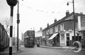 Tram at the junction of Merton Road and Pelham Corner, Wimbledon