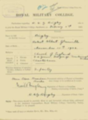 RMC Form 18A Personal Detail Sheets Feb & Sept 1921 Intake - page 13