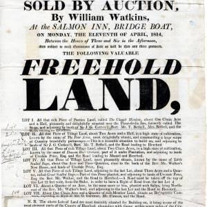 Farmland Auction notice, 11th April, 1814