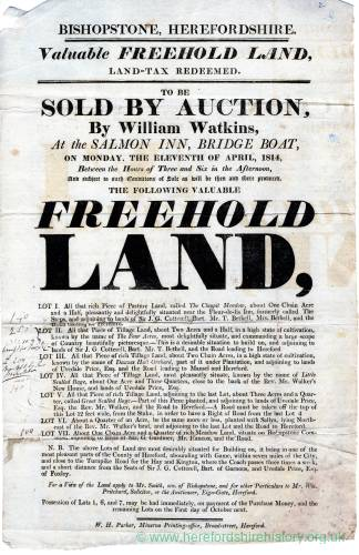 Farmland Auction notice, 11th April, 1814