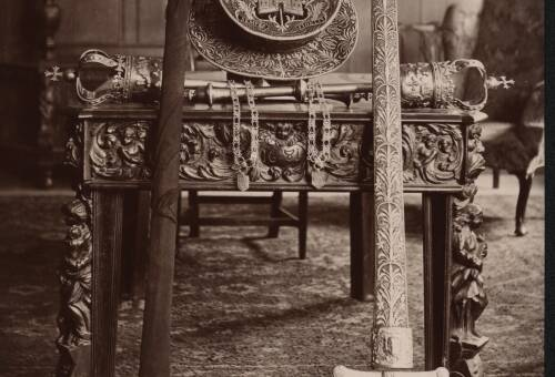 Interior items in theExeter Guildhall, c1900, Exeter