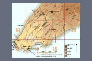 Map of Helles War Zone - Gallipoli 1915