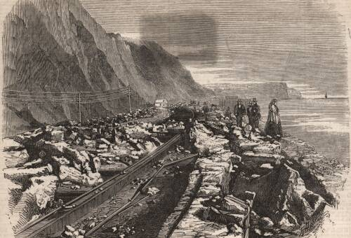 Injury occasioned by the gale of Oct. 25 to a portion of the railway, 1859, Teignmouth